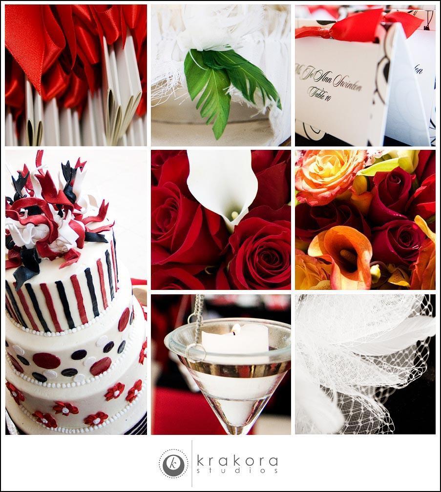 Detail Shots At Wedding White Red Black Cake Roses Burnt Orange Flowers Call