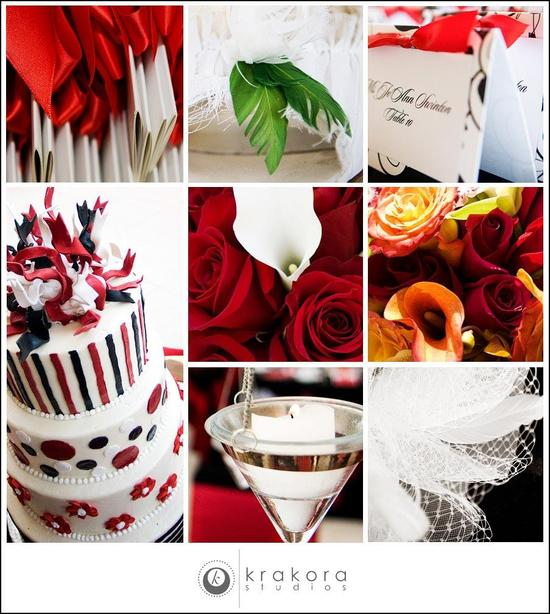 Detail shots at wedding; white, red, black wedding cake, red roses, burnt orange flowers, white call