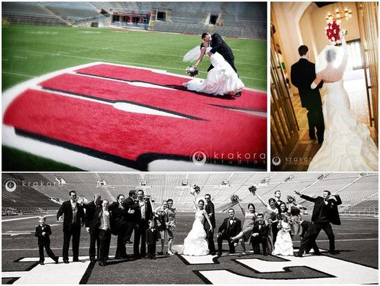 Bridal party has fun posing on UW's football field; groom dips bride and kisses her on field