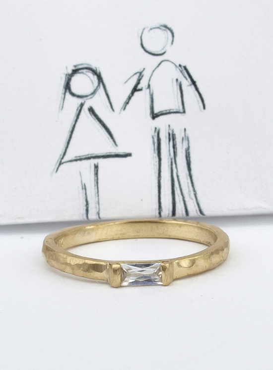 Exuberant 14k Gold Baguette Diamond Engagement Ring