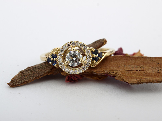 Victorian Floating Halo Diamond and Sapphire Engagement Ring in 14k Gold