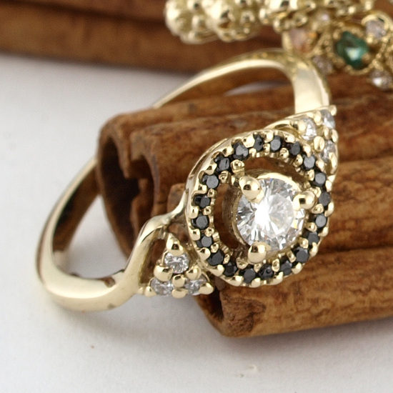 Victorian Floating Halo Diamond Engagement Ring in 14k Gold