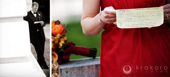 photo of Beautiful Red and Black Wedding Inspired By Couple's Alma Mater!