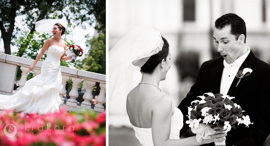 Wisconsin-badgers-gina-ben-beautiful-couple-black-white-groom-sees-bride-for-first-time-pink-flowers.full