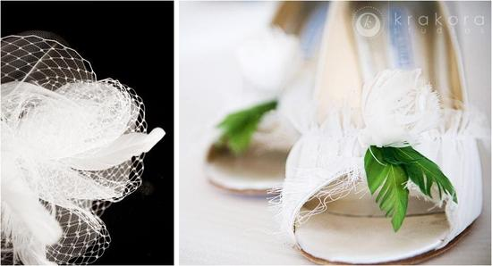 Closeup of white birdcage veil and bridal shoes with feather details