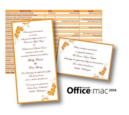 Office 2008 for Mac can help you create a fabulous wedding on a budget