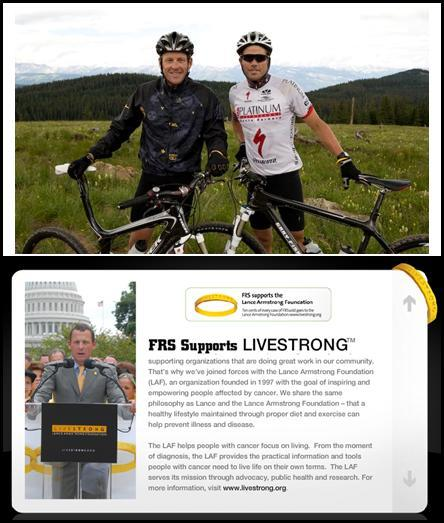 photo of FRS healthy energy supports Lance Armstrong's Livestrong charity