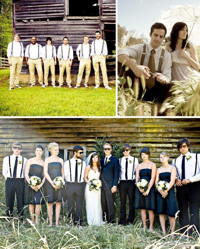 Beautiful Outdoor Wedding Party Photos Groomsmen Casual In Suspenders White Shirt And Khakis
