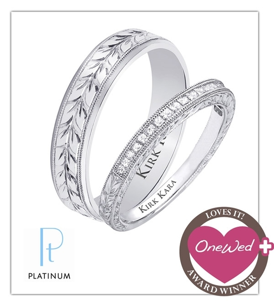 Gorgeous platinum his and hers wedding bands from Platinum Guild International jeweler, Kirk Kara