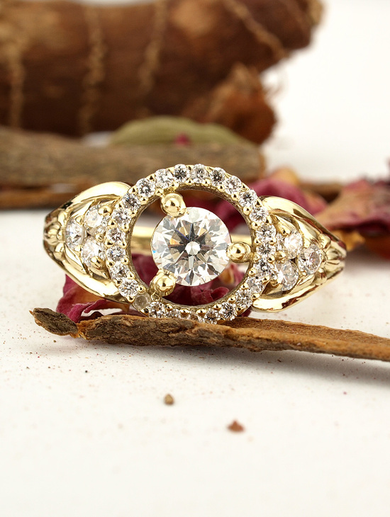 Victorian Floating Halo 14k Gold Diamond Engagement Ring
