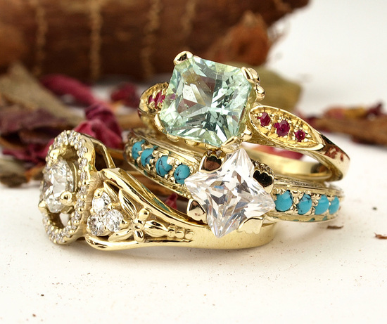 Vintage Style Gemstone Engagement Rings