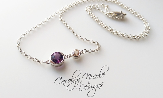 Bezel Necklace (Amethyst and Morganite) by Carolyn Nicole Designs (2)