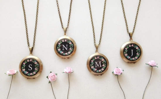Rose Wreath Monogram Lockets