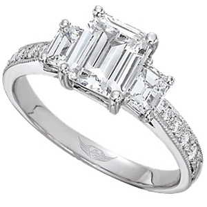 photo of 3 Stone Emerald Cut Engagement Ring