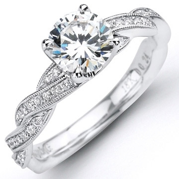 Pave Diamond Twist Engagement Ring by Simon G