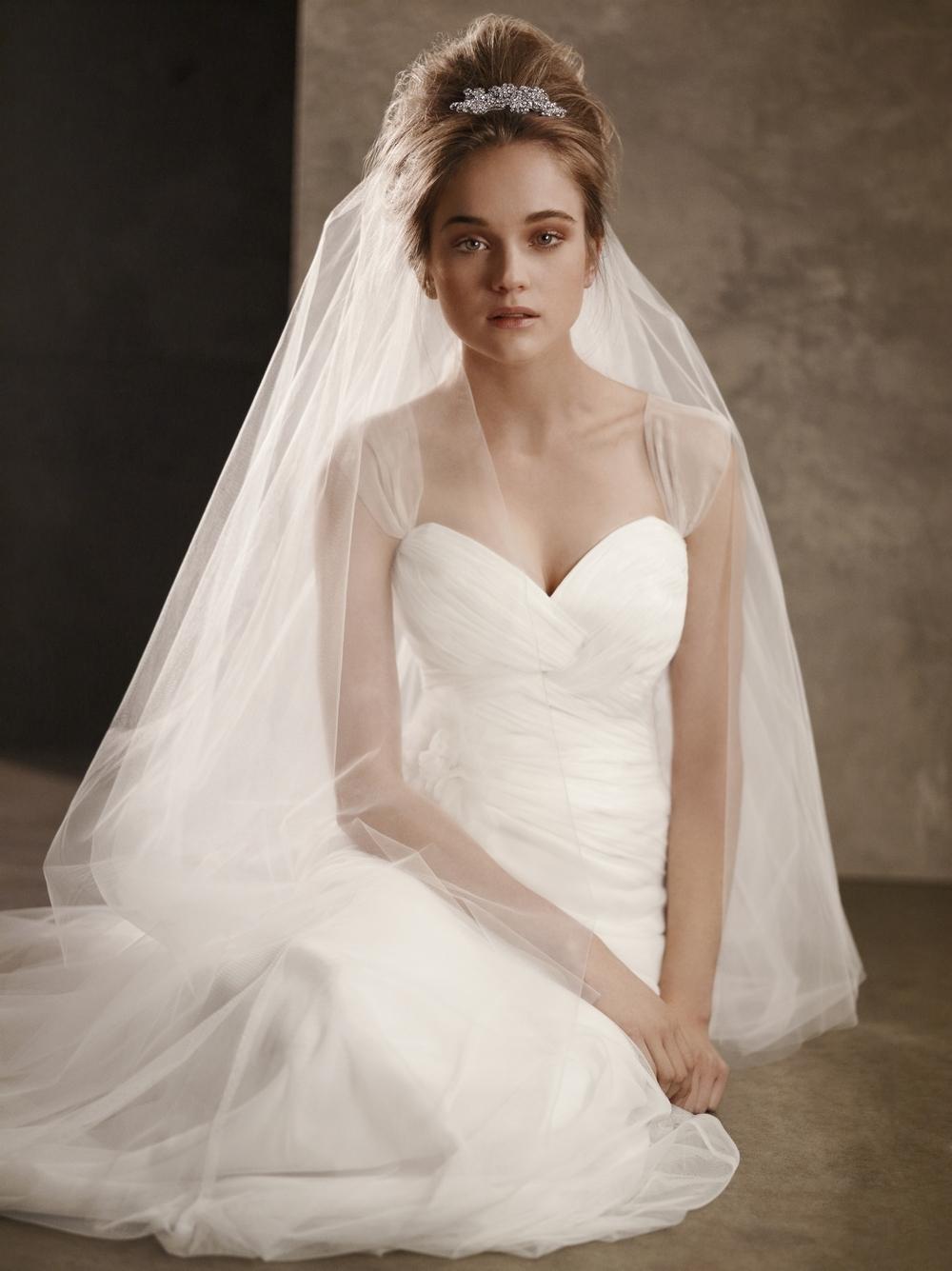 White by vera wang illusion neckline wedding dress