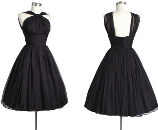 halter ruched short black bridesmaid dresses KSP309