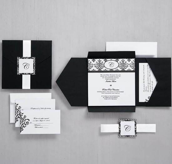 Black Pocket Wedding Invitations