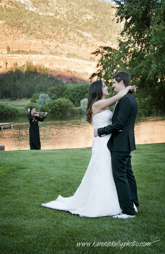 Bride and Groom dance to violin at River Bend Ranch