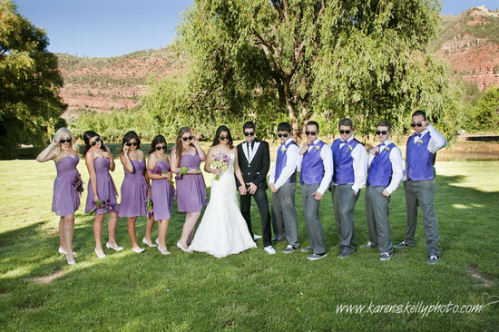 Wedding party with sunglasses by Durango Photographers