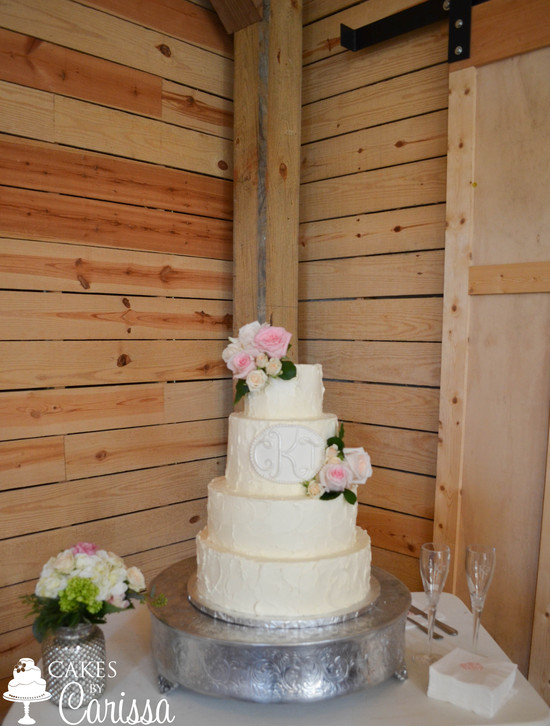 Buttercream Monogram Wedding Cake