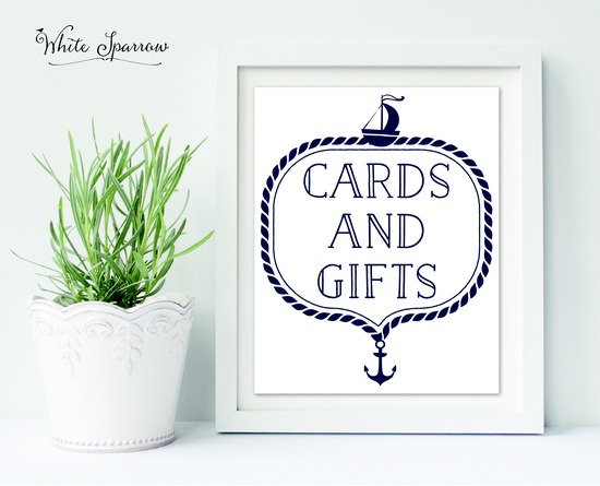 Nautical Wedding Cards and Gifts Sign