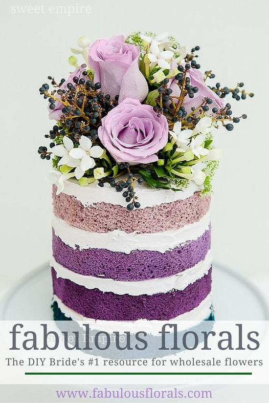 purple ombre cake diy flowers