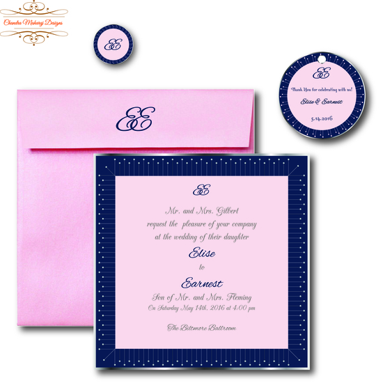 Modern Navy and Pink Invitation