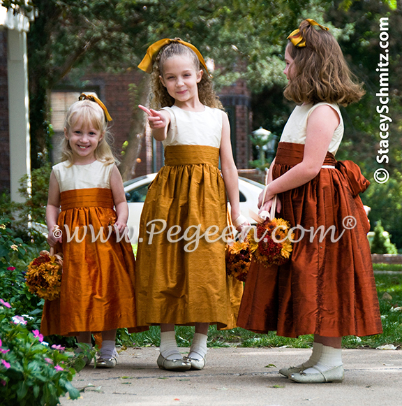 Silk flower girl dresses in autumn colors, #flower #girl #dresses #pegeen.com #flowergirldresses #coutureflowergirldress #girlsdresses #customsilkdresses #flowergirl #flowergirldress