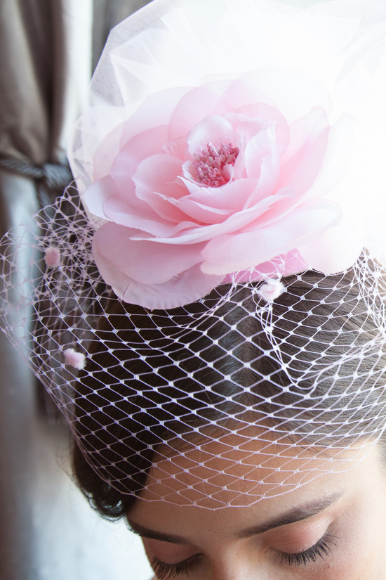 Chelsea Soft Pink Bridal Tulle Fascinator with Birdcage Veil and Flower Embellishment