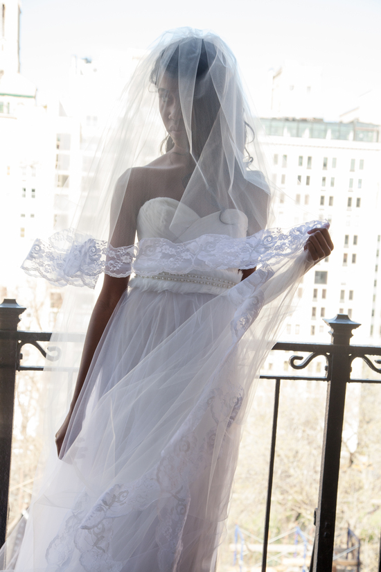 Audrey Cathedral-Length Bridal Veil with Lace Details