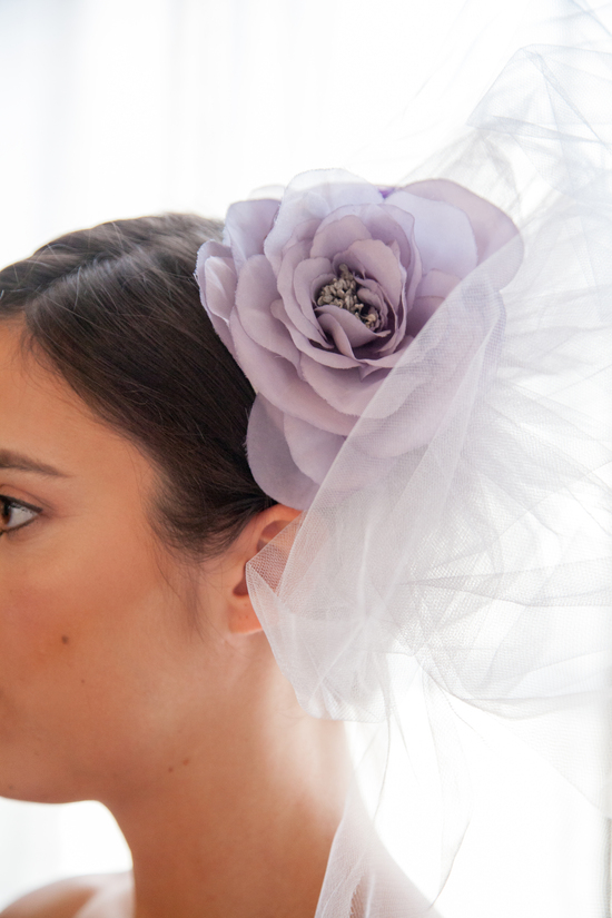 Thea Lavender Tulle Fascinator with Flower Embellishment