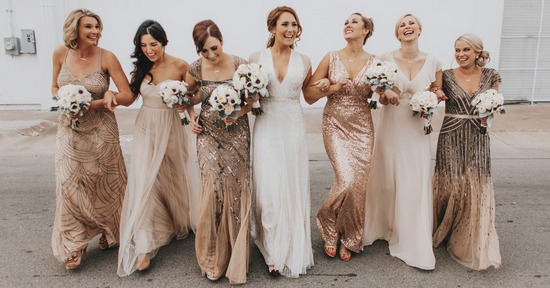 champagne and gold bridesmaid dresses available on Poshare