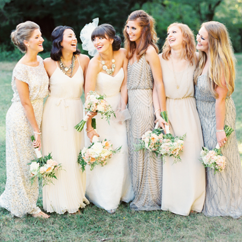 bridesmaid dresses by Aidan Mattox and Adrianna Papell
