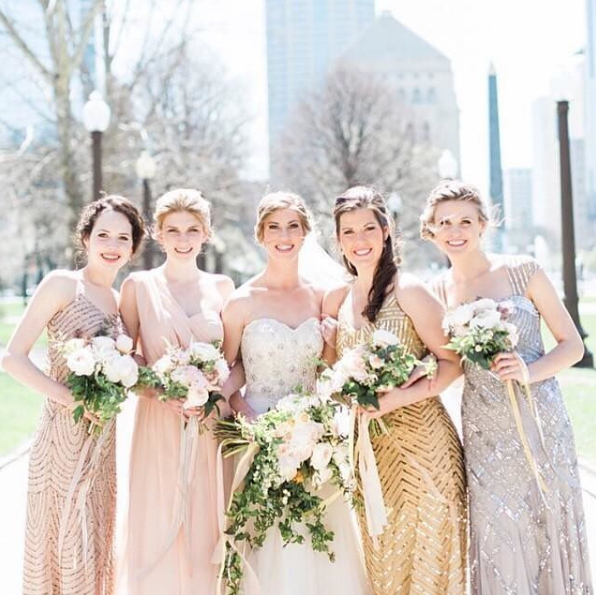 Gold and silver sequined bridesmaid dresses - sale and rent