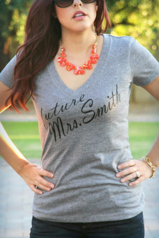 Future Mrs. (Your new last name) heather gray v neck