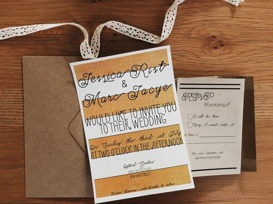 gold black stripes wedding invite