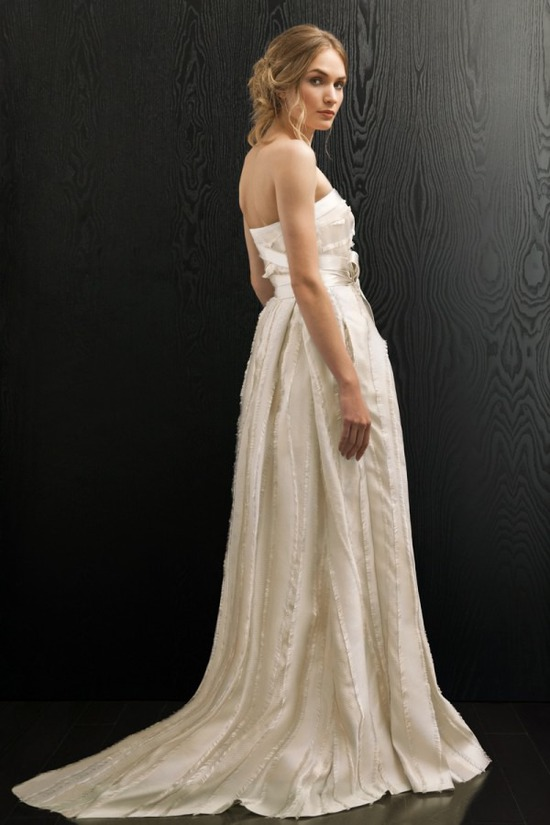 Strapless ivory wedding dress with train