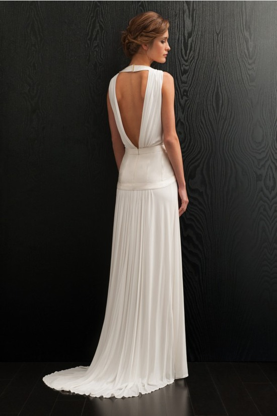 Elegant draped back jersey wedding dress