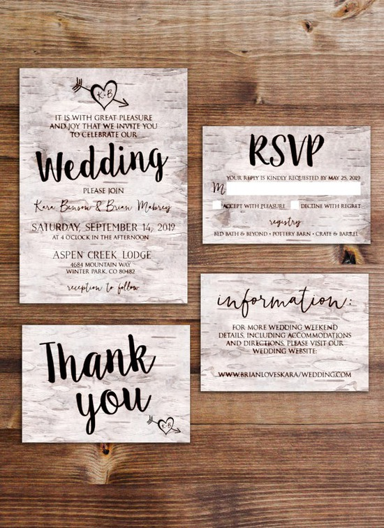 Birch Bark Wedding Invitation Suite (Printable)