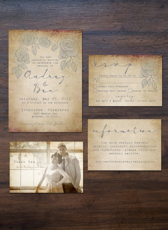 Elegant, Vintage-Romance Wedding Invitation Suite -Printable