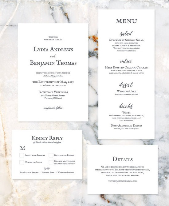 Minimalist, Classic White Wedding Invitation Suite