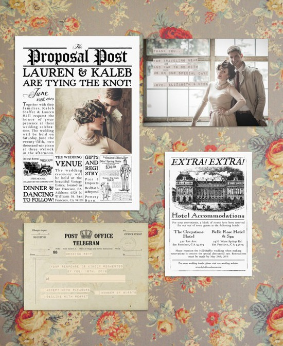 Vintage Newspaper Wedding Invitation Suite