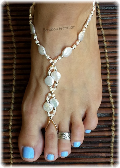Pearl barefoot sandals for beach or destination wedding