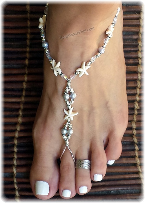 White Barefoot Sandals Beach Wedding