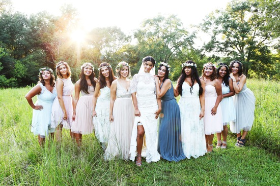Bridal Party at Sunset
