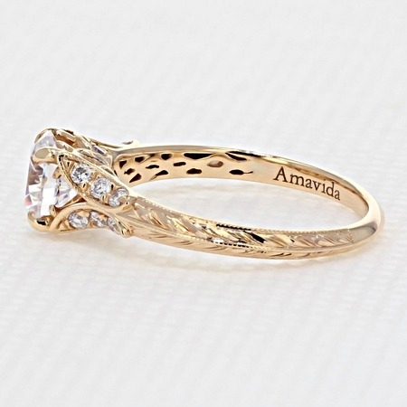 Engraved Rose Gold Engagement Ring