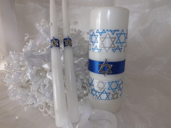 Star of David Unity Wedding Candle