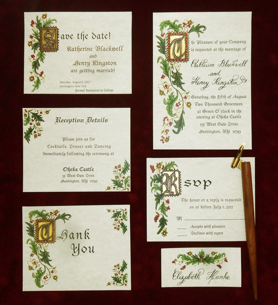 Hand Illuminated Calligraphy Wedding Invitation Suite