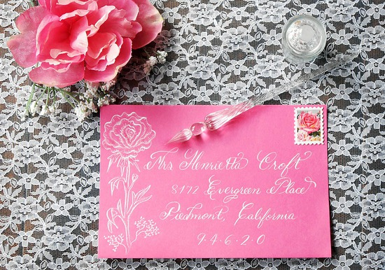 Calligraphy hand address Pink Envelope in White Ink